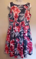 Red Herring Special Edition UK12 EU40 US8 pink and grey floral lined dress