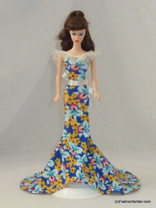 Romance Spring Floral Handmade Gown Dress for Barbie Vintage Curvy Fashionista