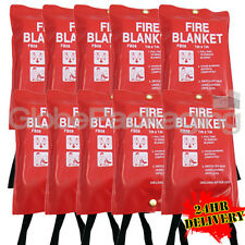 10 x QUALITY QUICK RELEASE LARGE FIRE BLANKETS 1M x 1M - HOME WORKPLACE KITCHEN