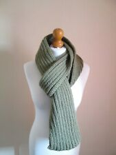 New Hand Knitted Chunky Green Scarf. 198cm long by 15cm wide.