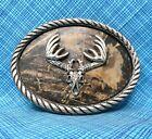 Vintage Hunter Belt Buckle - Deer Antlers & Camouflage - Nocona Buckles...PCB432