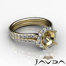 Diamond Engagement Vintage Ring Round Semi Mount Halo Pave 14k Yellow Gold 1.3Ct