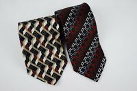 Lot of 2 Ties Various Designs Croft & Barrow Geometric 100% Silk Black Red