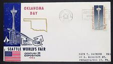 Oklahoma Day Seattle World's Fair Cachet Cover Space Needle 4c USA Brief (Y-332