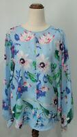 H & M Size 38 10 Blue Floral Long Sleeve Pleat Womens Shirt Baggy Blouse Cut Out