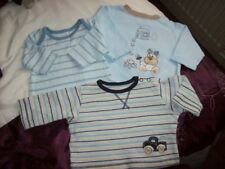 0 - 2 months Baby 3 x Long Sleeved T Tops. M&S. M'care 100% Cotton White.Blue