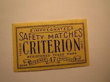 Safety Matches - Criterion / Streichholzetikett