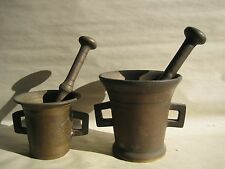 Rare 2 Antique Primitive19th Century Apothecary Brass Mortar and Pestle Pharmacy