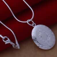 Stunning 925 Sterling Silver Oval LOCKET Photo Pendant Charm Necklace Chain Gift
