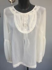 ️look Cream Top Part Lace Size 18 Euro 46 Long Sleeves