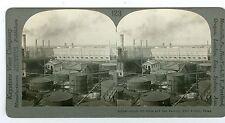 J1803~ Texas Oil Stereoview Port Arthur Crude Oil Still & Can Factory