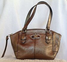 COACH  Gunmetal/Tan  Chelsea Metallic Leather Mini  Bag Top Handle Purse