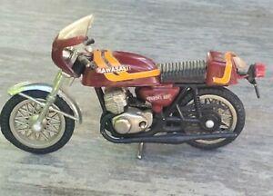 """Vintage Diecast Kawasaki 3.5"""" Red Motorcycle Made In Hong Kong 1970's"""