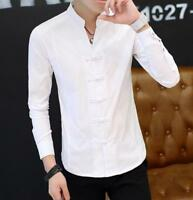 New Fashion Men Long Sleeve Chinese Style Dress Shirts Lapel Undershirts Casual