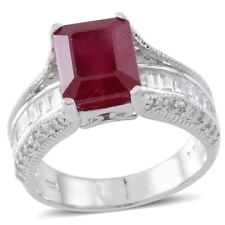 10.1Ct NIASSA RUBY WHITE TOPAZ  STERLING SILVER  RING (SIZE 7)