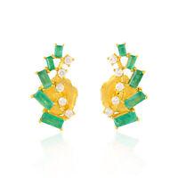 Natural Diamond Emerald Baguette 18k Yellow Gold Stud Earrings Designer Jewelry