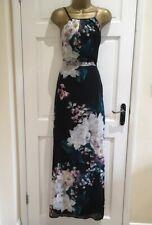 Ex Brand Womens Black Grey Floral Print Strap Party Evening Maxi Dress  4 - 16