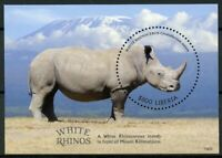 Liberia 2019 MNH White Rhino Rhinoceros 1v S/S Fauna Rhinos Wild Animals Stamps
