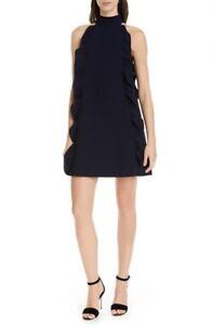 Ted Baker London Torriya Ruffle Dress 2 Nwot New Womens Shift Navy Womens