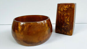 Amber, Cataline, Bakelite Lava Flow Pen/Pencil Holder and Bowl, from 1960's