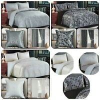 3Pcs Duvet Cover Set Jacquard Quilted Bedding Set Matching Curtains & Cushions