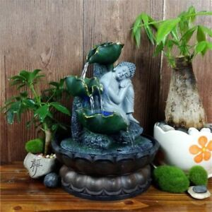 Indoor Fountain Waterfall Led Light Home Ornament Air Humidifier Fengshui Decors