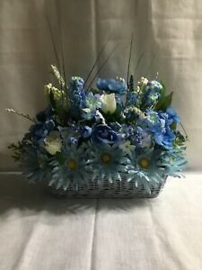 Hand Made Silk Floral Arrangement in a Light Blue Basket, Deisies Peony, Roses,