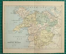 1882 piccole Antico County Mappa Nord Galles CARNARVON Anglesey Montgomery Denbigh