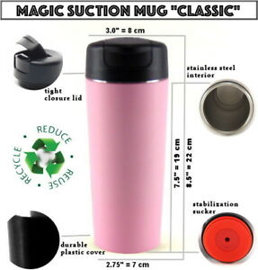 MAGIC SUCTION MUG Classic Pink ✈ Travel coffee cup for all Mighty Hikes