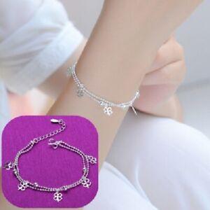 925 Silver Plated Lucky Clovers Bracelet B030