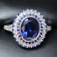 Blue Sapphire Ring Women Jewelry Wedding Engagement Anniversary Gift