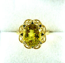 3.52ct Greenish Yellow Quartz/Green Diamond 14k Yellow Gold Ring US (7) AU (O)