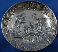 Antique Hanau Sterling Silver Saucer Bowl Fruit & Watteau Scene Relief Design
