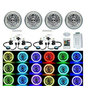 "5-3/4"" RF RGB SMD Multi-Color Change Halo Angel Eye Shift H4 LED Headlights Set"