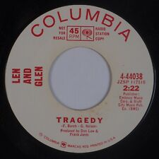 LEN AND GLEN: Tragedy / Kiss and Run USA COLUMBIA DJ '67 Pop Promo 45 Hear