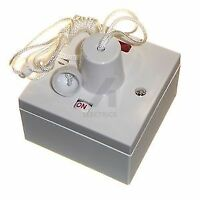 Shower ceiling pull cord switch & back box, 45 amp double pole neon electric