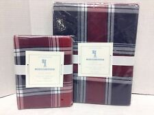 Pottery Barn Kids Organic Red Navy Country Plaid Bed Duvet Cover Sham twin New