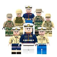 WW2 Military Officers & Army Soliders- 8x Minifigure Set fit lego bricks