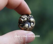3 CM Tibet 100% Pure Bronze Foo Dog Counteract Evil Force Aniaml Amulet Pendant