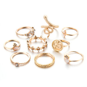 9pcs Silver/Gold Boho Stack Plain Above Knuckle Ring Midi Finger Rings Set Gift