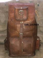 Genuine Leather Holiday Camp Backpack Rucksack Travel Bag For Men's and Women's