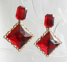 Baroque Clip Earrings 1980s vintage Fabulous Red Faceted Acrylic Gold-tone