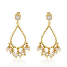 Beaded Pearl Gemstone 925 Silver Gold Plated Wedding Dangle Earrings Jewelry