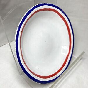 Astier de Villatte Paris Handmade Round Luxury White Enamel Red/Blue Clay Saucer