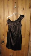 Joseph dress, silk satin, one shoulder dk brown - 14  RRP £285 worn 1 time