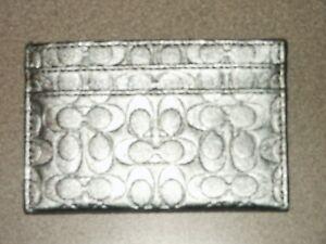 COACH Signature Silver Design Card Slim Card Case