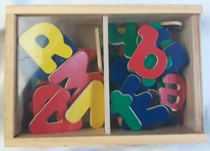 Melissa & Doug Magnetic Wooden Alphabet 48 Pc Set with Wood Storage Box