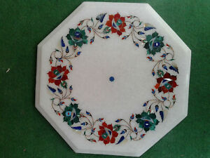 "12"" White Marble Table Top Coffee Center Inlay Lapis Mosaic Home Decor G520"