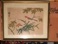 Asian  signed  framed and matted Song Bird Watercolor