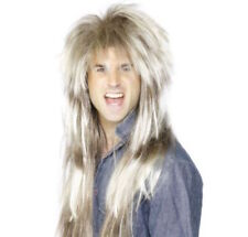 Da Uomo 80's Mega Lungo MUGGINE PARRUCCA Fancy Dress Star Rocker bionda Rock N Roll Retro